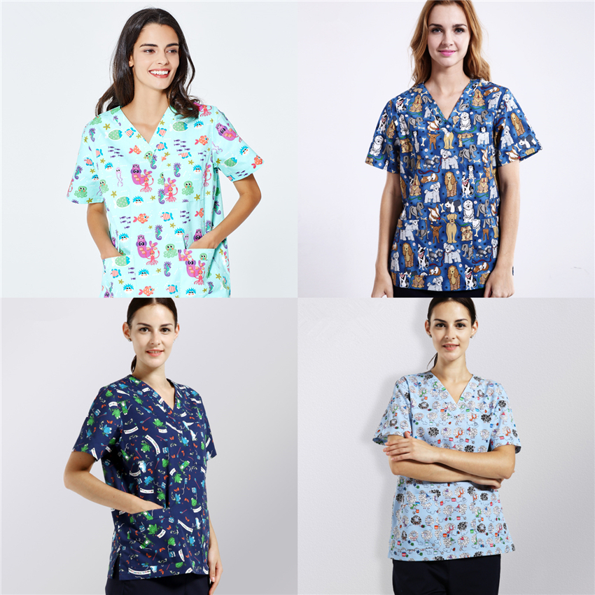 New Scrub Tops Nurse Uniform Scrubs Medical Uniforms Women Doctor Costume Accessories Surgery Cap Surgical Clothing