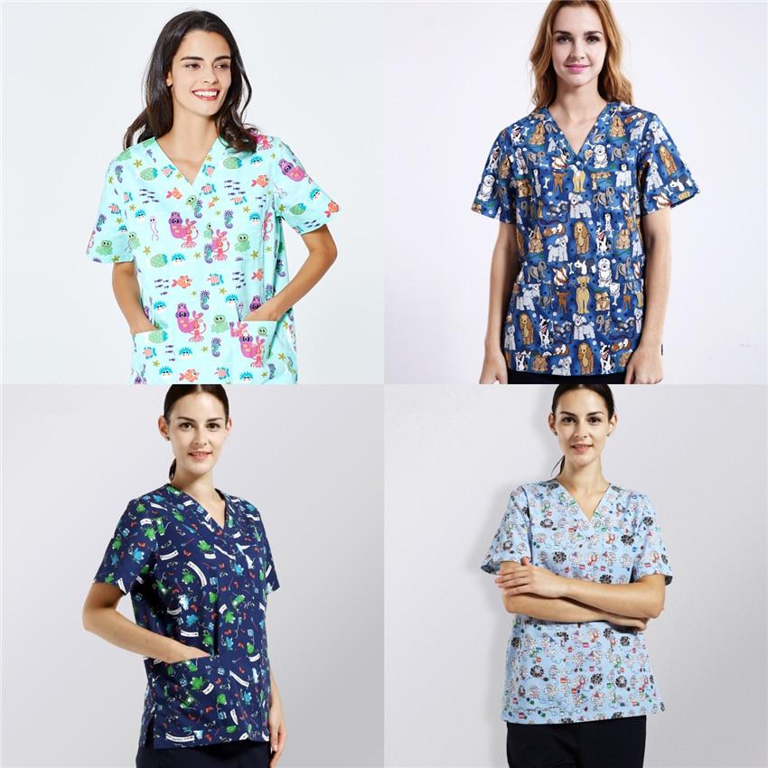 New Scrub Tops Nurse Uniform Scrubs Medical Uniforms Women Doctor Costume Accessories Surgery Cap Surgical Clothing