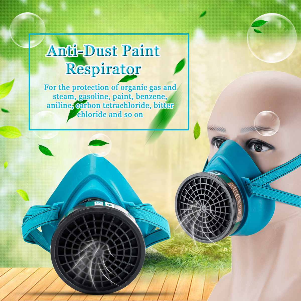 Safurance Rubber Respirator Gas Mask Comprehensive Cover Paint Chemical Pesticide Mask Anti Dust Protective Mask