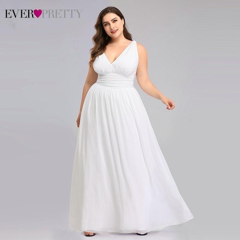 Plus Size Wedding Dresses Ever Pretty Elegant V-neck  A-line Chiffon Simple Summer Beach Wedding Gowns Vestidos De Novia 2020