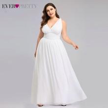 Plus Size Wedding Dresses Ever Pretty Elegant V neck  A line Chiffon Simple Summer Beach Wedding Gowns vestidos de novia 2020