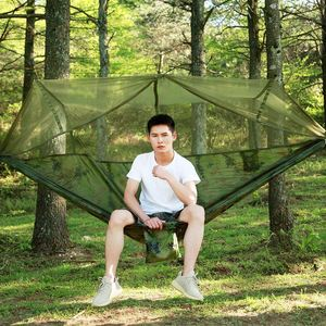 Image 4 - Promotion! Portable Camo High Strength Parachute Fabric Camping Hammock Hanging Bed With Mosquito Net Sleeping Hammock Camo