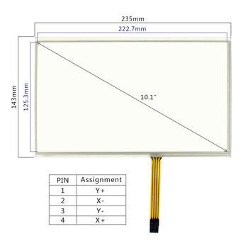 치수 크기 235mm x 143mm VS101TP-A1 10.1 인치 4 선식 저항 막 터치 패널 작동 10.1 인치 lcd 화면 4 핀 fpc 커넥터