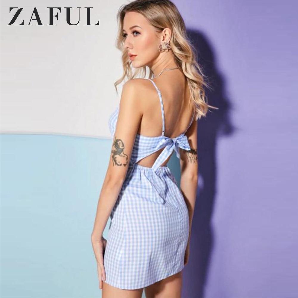 ZAFUL Knotted Plaid Back Zipper Cami Dress Women Tie Gingham Cut Out Mini Dresses Spaghetti Strap Sleeveless A Line Dress 2019