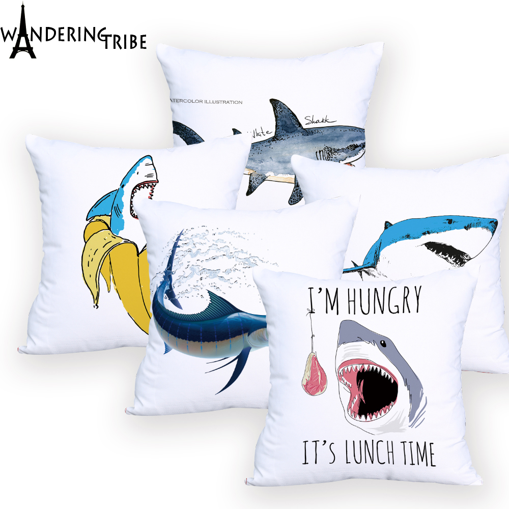 b0f6771eada0 Detail Feedback Questions about Large Marlin Decorative Pillow Cover White  Decoration Printed Cushion Cover Shark Pillow Case for Sofa Personalized on  ...