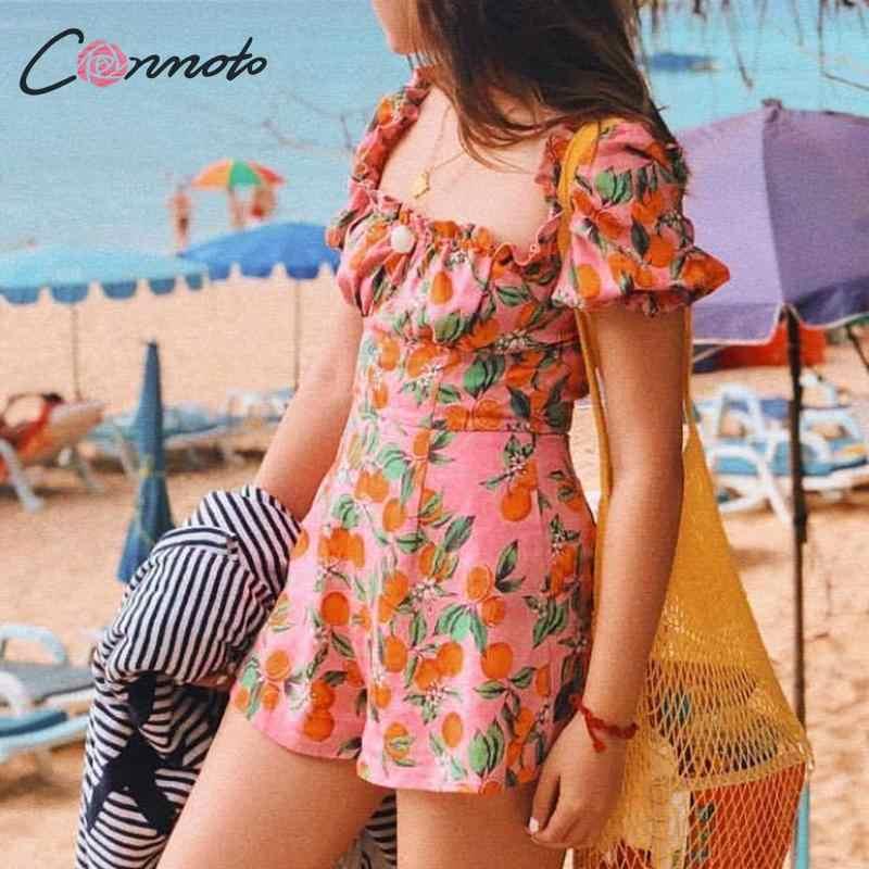 Conmoto/модный винтажный розовый комбинезон с фруктовым принтом, 2019 летний сексуальный комбинезон с открытыми плечами и рюшами, праздничные пляжные вечерние комбинезоны для девочек