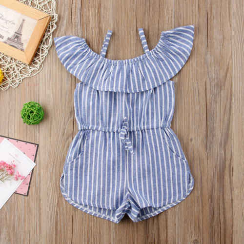 7024b5cd4eb4 ... Summer Toddler Kids Baby Girls Striped Overalls Off Shoulder Rompers  Jumpsuits Playsuit ...
