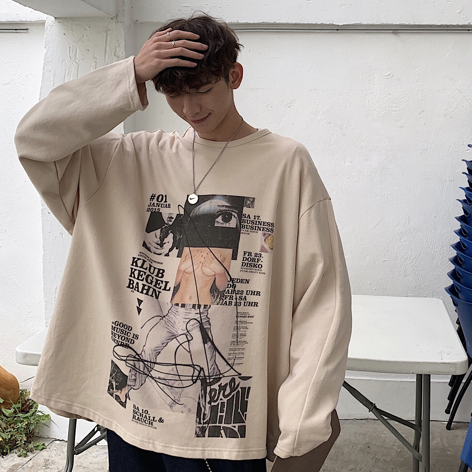 2019 Spring Men's New Male Doodle Printing Coats Fashion Trend Pullover Hoodies Cotton Clothes Casual Khaki Sweatshirts M-XL