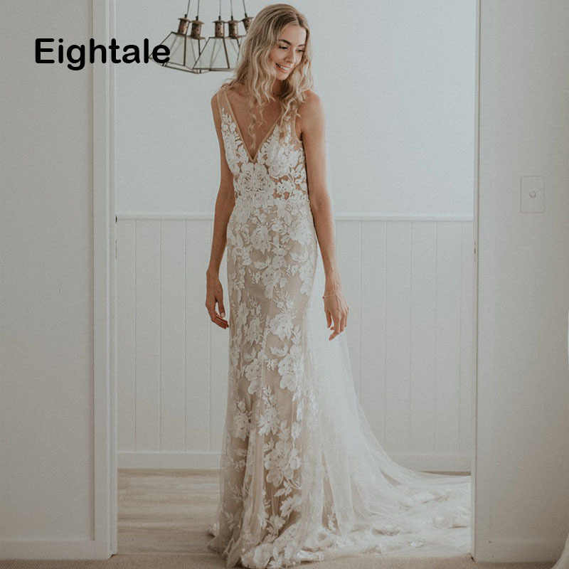 Eightale Boho Wedding Dresses 2019 V Neck Appliques Lace Sexy Backless Mermaid Bride Dress Plus Size Wedding Gowns Trouwjurk