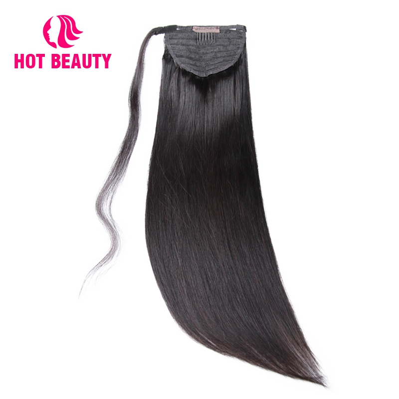 Hot Beauty Hair Straight Human Hair Ponytail Brazilian Remy Clip In Hair Extensions  Natural Color 100g Ponytail 10