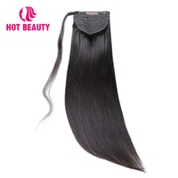 Hot Beauty Hair Straight Human Hair Ponytail Brazilian Remy Clip In Hair Extensions Natural Color 100g Ponytail 10 28