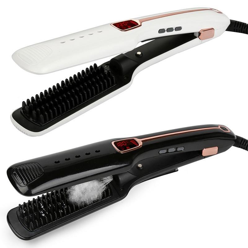 Meilleure vente multifonctionnel Ion négatif infrarouge Spray vapeur droite cheveux peigne deux usages droite cheveux baguette fer à friser - 2