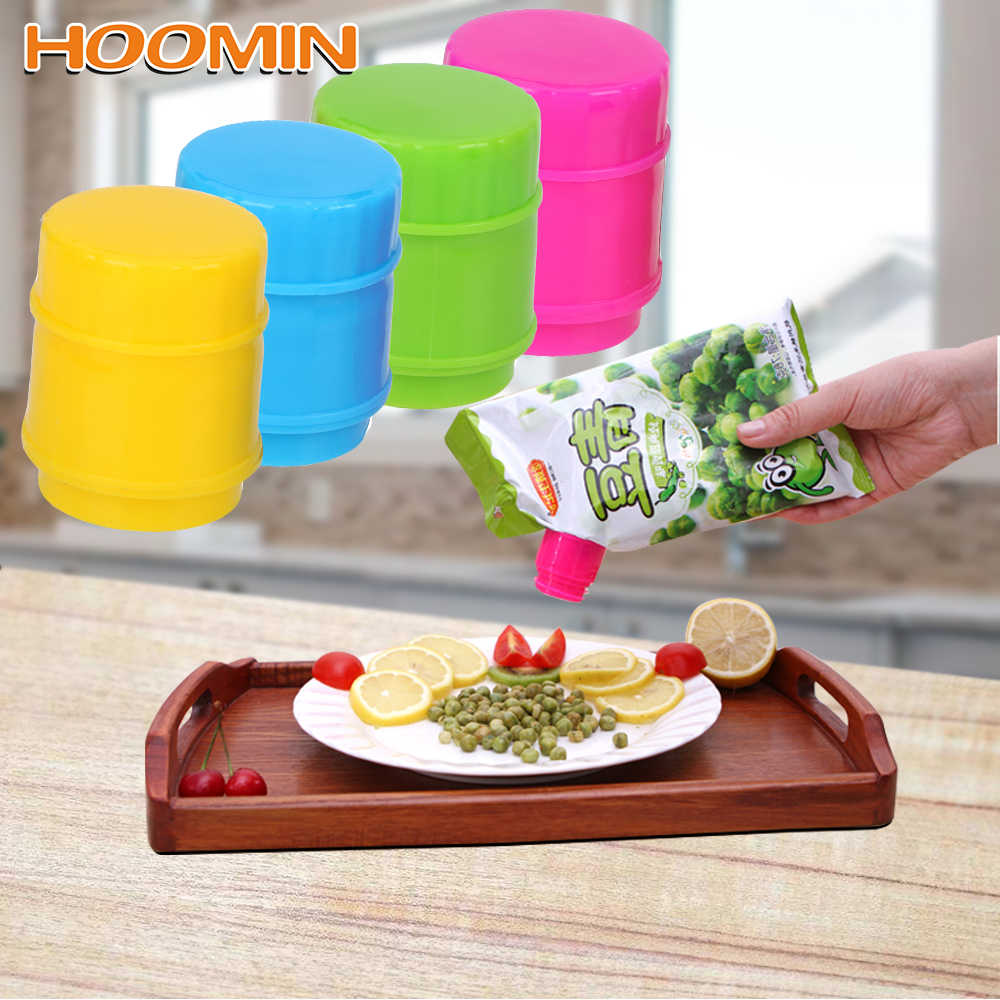 HOOMIN Food Preservation Fresh Moisture-proof Clamp Bottle Cap Shaped Easy To Pour Out Sealing Bag Clips Kitchen Storage