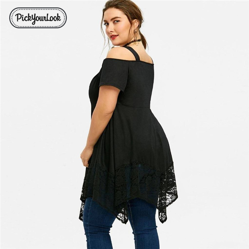 PickyourLook Womens Plus Size Off Shoulder Lace Tee Shirt Ladies Irregular Hem Summer Party Tops Long T shirts Black SexyTees in T Shirts from Women 39 s Clothing