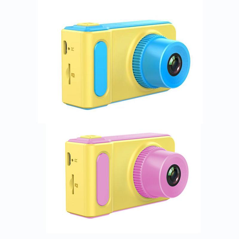 Children's Mini Electronic Toys Small SLR Sports Camera Toy Cartoon Game Photo Birthday Gift Pink Blue Non-touch Screen