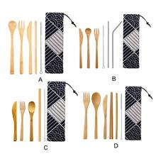 Bamboo Fork Spoon Set Portable Japanese Stainless Steel Straw Tableware Kitchen Cooking Utensils With Storage Bag