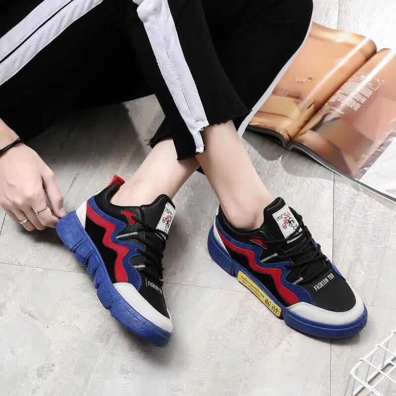 Vulcaniser Printemps À Décontracté Chaussures Loisirs Mode Décontractées Sneakers Couleurs Femmes Autumm Pu Bas blanc Bleu Lacets Respirant Mélangées SxqZ44Xw0