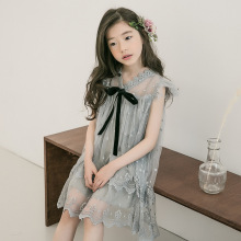HANQIYAHULI Brand 2019 New Girl Summer Dress Fashion Kids Floral Baby Girls Korean Children Princess Gauze Bow
