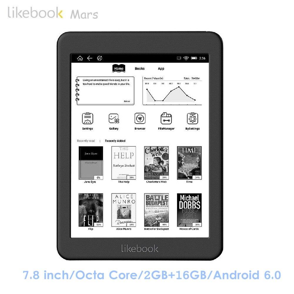 Likebook Mars T80D 7.8 pouces Lecteurs eBook Android 6.0 Octa Core 2 GB RAM 16 GB ROM Protéger Les Yeux Voix lecture E-encre eReader