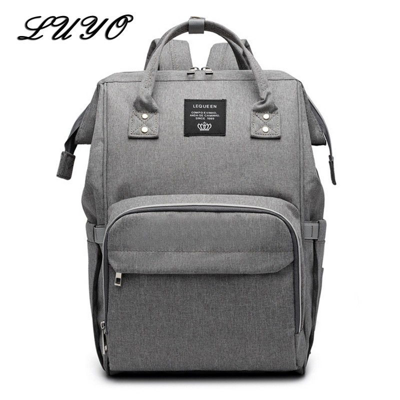 LUYO Diaper Bag Mummy Baby Care Nappy Large Capacity Waterproof Business Backpack Women Travel Bag Ring Bagpack Rugzak Back Pack