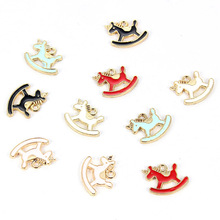 10pcs Trendy Alloy Enamel Trojan Pendants For Woman Girl Lovely Animal Cute Colorful Horse Charms DIY Jewelry Accessories