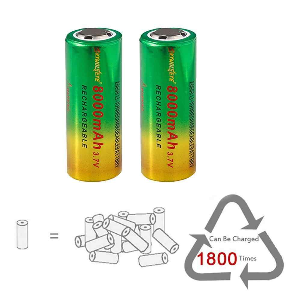 Pack Of2 Abc 26650 Skywolfseye Rech 3.7 Volt Batt With Safety Cut Off 8000 Ma