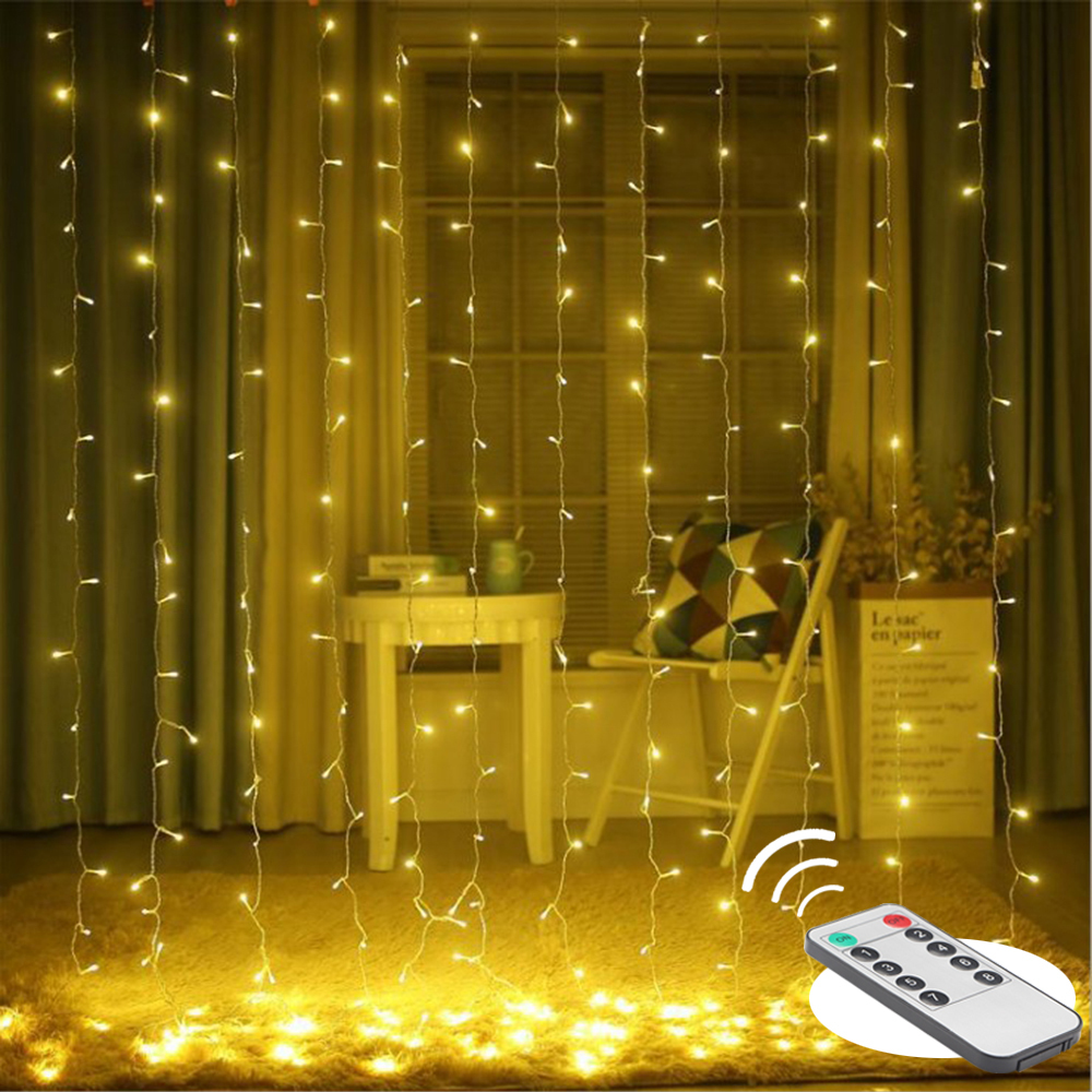 3x3 304 Led Curtain String Fairy Light Christmas Garland Remote Wedding Party Decoration Light For Garden Home New Year Decor