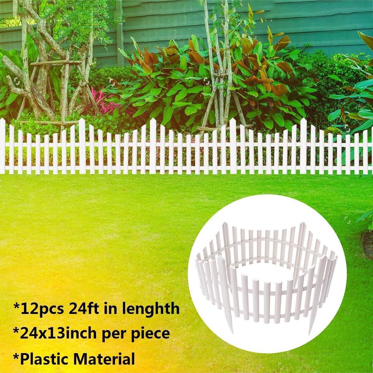12 pcs En Plastique Jardin Frontière Clôtures Clôture Panneaux En Plein Air Paysage Décor Bordure Cour Facile Installer Insérer Sol Type 610 x 330mm