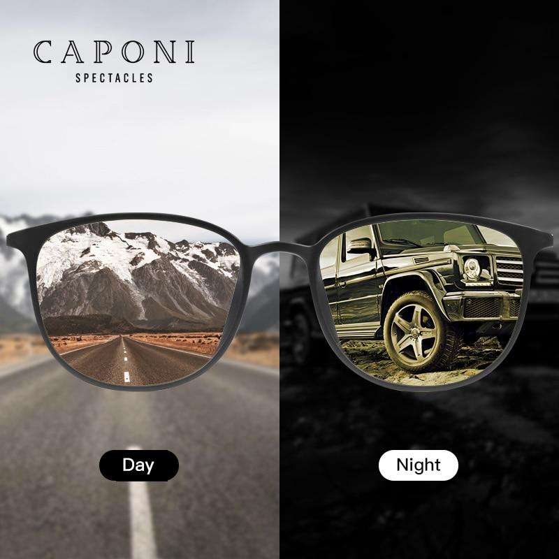 Caponi Driving Sunglasses Photochromic Polarizadas Vintage Eyewear Night Vision Sun Glasses For Men Women BSYS520