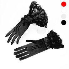 Beautiful womens dress gloves high elastic knitted mesh black and white lace