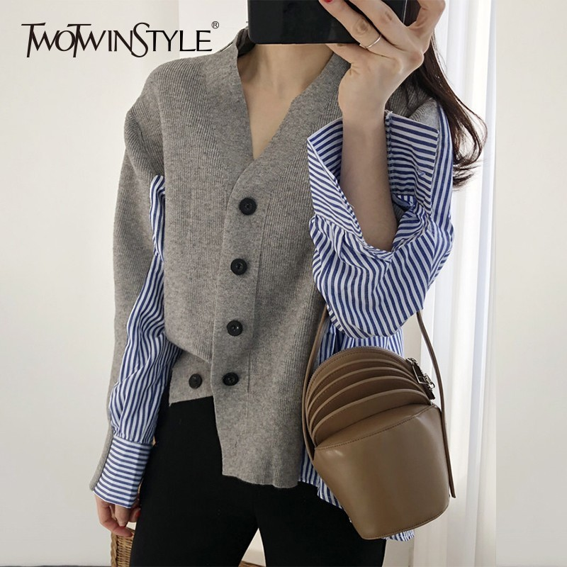TWOTWINSTYLE Patchwork Striped Sweater For Women Long Sleeve Asymmetrical Cardigans Female Jumper Fashion 2018 Autumn New