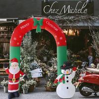 240cm Giant Arch Santa Claus Snowman Inflatable Garden Yard Archway Christmas Ornament Xmas Festival Party Props Decor EU Plug