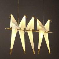 Modern Nordic Gold Paper Crane Metal Chandelier For Restaurant Living Room Dining Room LED Bird Pendant Lamp Lights Lighting