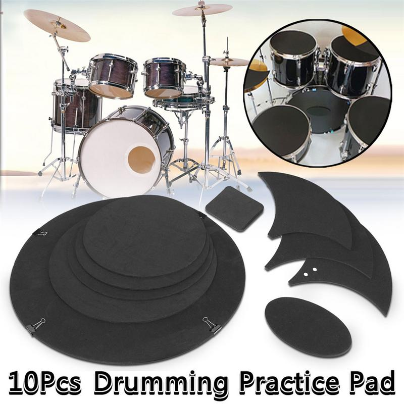 10pcs/set Drum Percussion Silencer Pad Rubber Foam Bass Snare Drum Sound Off Quiet Cymbal Mute Silencer Practice Pad Kit Tool