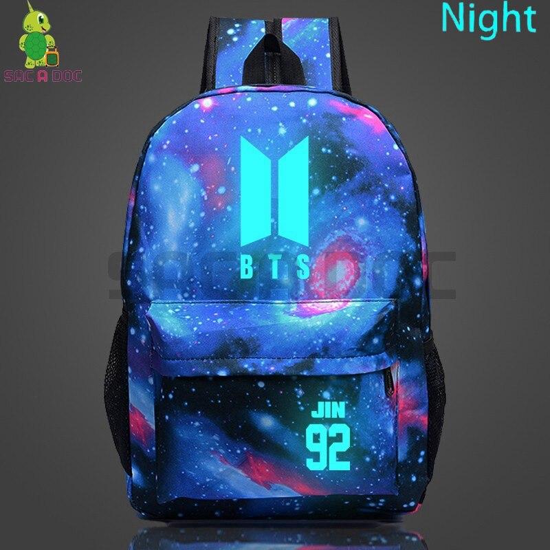 Galaxy Kpop BTS Backpack JIN 92 SUGA 93 Luminous School Bags for Teenage Boys Girls Starry Night ...