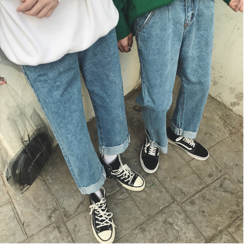 2019 Autumn New Men 39 s Simple Solid Color Personality Washed Casual Pants Fashion Young Wild Temperament jeans men Large Size in Jeans from Men 39 s Clothing