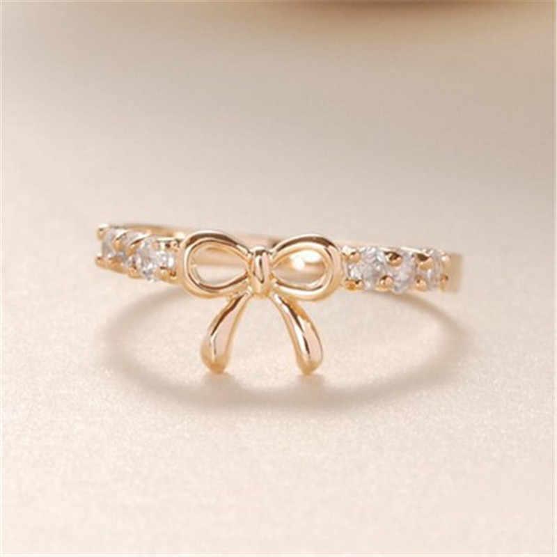 Bow Pha Lê Gothic Nhẫn Đối Với Phụ Nữ Bạc Trang Sức Boho Engagement Ring Phụ Nữ Wedding Finger Nhẫn Quà Tặng Cho Nữ Thời Trang Vòng
