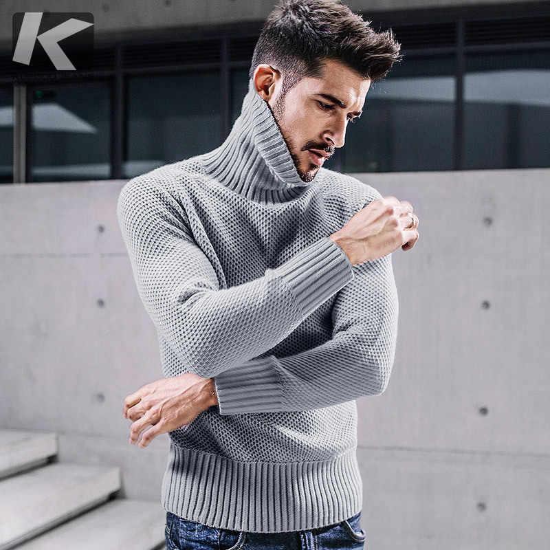9e38983b1 KUEGOU новые осенние мужские толстые свитера Dot отверстие Серый цвет  вязаная брендовая одежда для человека Тонкий