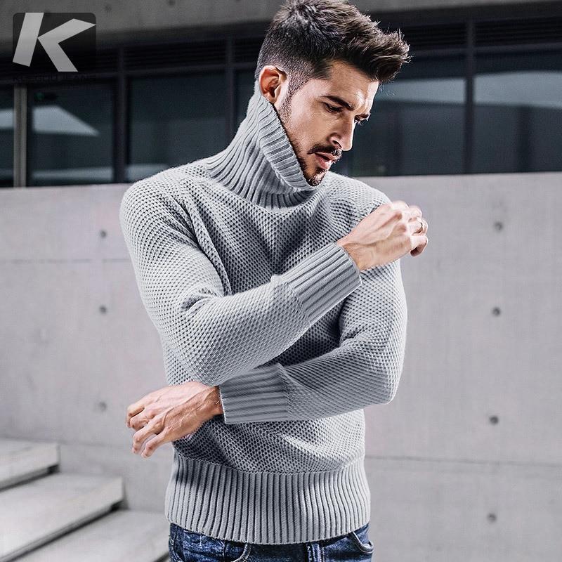 KUEGOU Nouveau Automne Hommes Épais Chandails Dot Trou Gris de Couleur Tricoté Marque Vêtements Pour Homme Mince Pulls Tricots Vêtements 17009