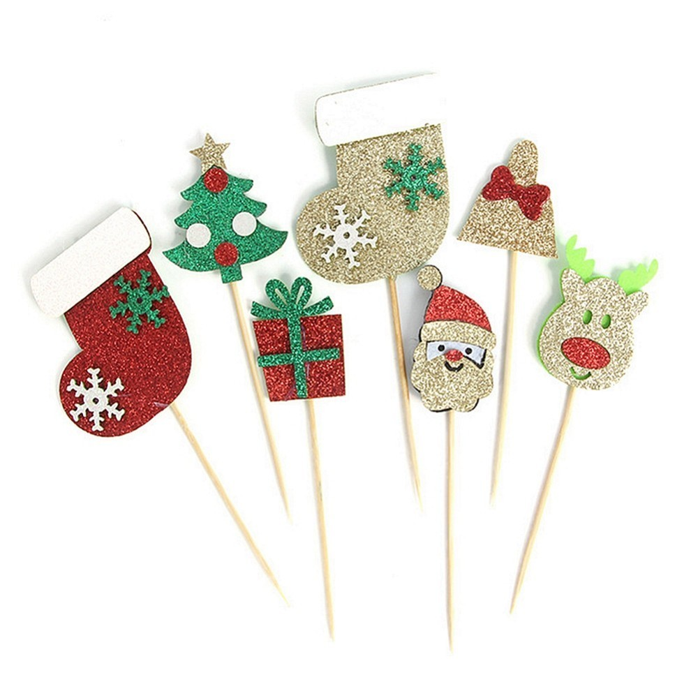 Pack Of 9pcs Christmas Cake Topper Cupcake Toppers For Merry Ornaments Party Decorations