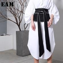 [EAM] 2020 חדש אביב שחור לבן Hit צבע ארוך קשת תחבושת לחרוג רוחב חגורת נשים אופנה גאות כל התאמה JA49101