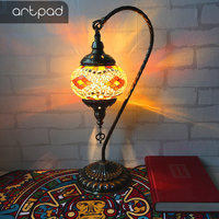 Artpad Big Size Swan Style Vintage Retro Turkish Mosaic Desk Lamp for Bedroom Living Room Stained Glass LED Turkish Lights