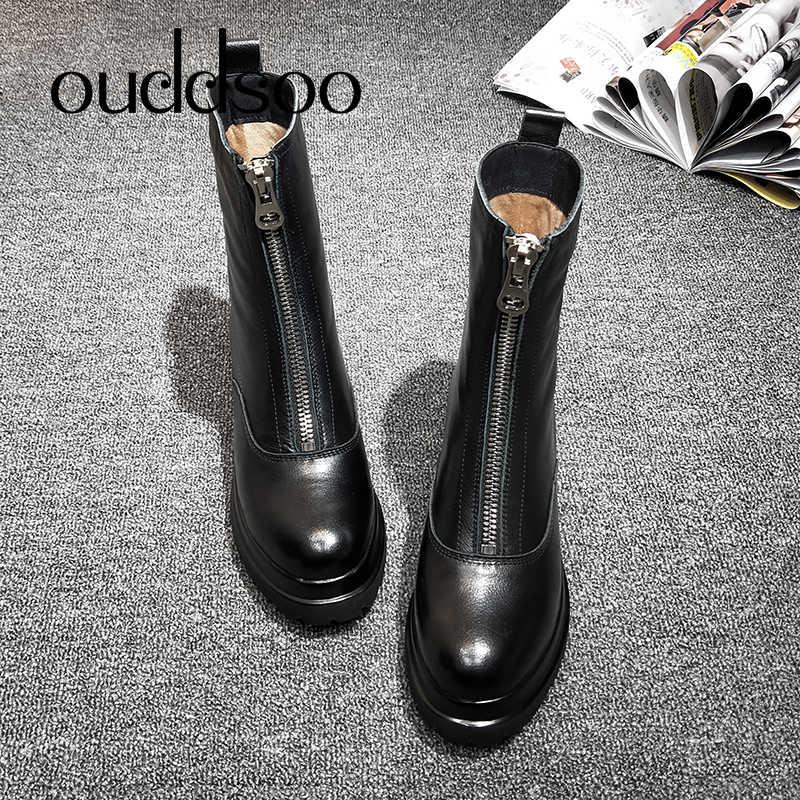 Botas planas Martin para mujer a prueba de agua planas de cuero genuino blanco botas hechas a mano Mujer Zapatos blanco tobillo botas para las mujeres