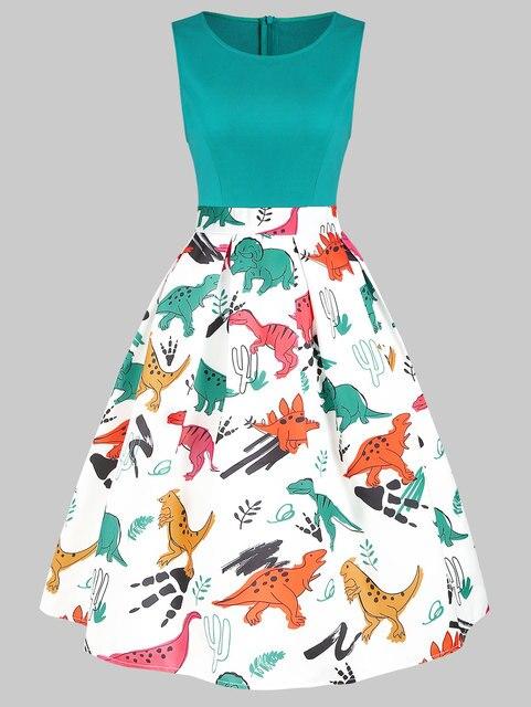 Wipalo Vintage Women Dinosaur Print Sleeveless A Line Dress Summer New Fashion O Neck Knee Length Dress Vestidos Women Clothings 5