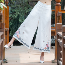 2019 Women Vintage Linen Cotton Wide Leg Pants Casual Floral Embroidered Elastic Waist Ankle-Length Pants summer national style embroidered vintage denim wide leg pants elastic waist woman casual loose pocket jeans ankle length pants