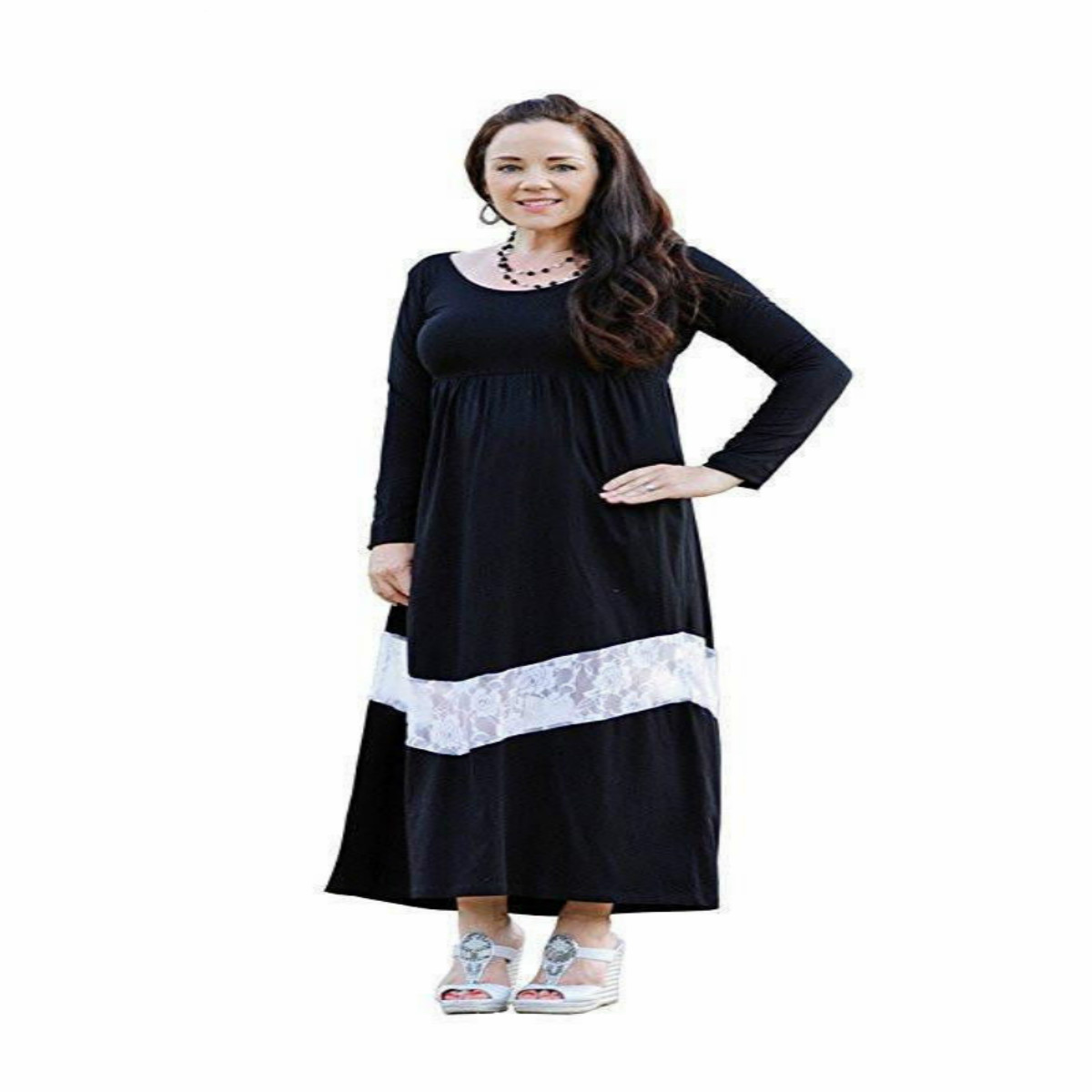 Emmababy Mom Daughter Garments 2018 Lengthy Sleeve Lace Patchwork Informal Floral Gown Household Matching Outfit Matching Household Outfits, Low-cost Matching Household Outfits, Emmababy Mom Daughter Garments 2018 Lengthy Sleeve...