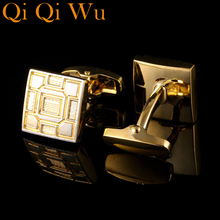 2017 NEW Shirt Gold Cufflinks for Mens Gifts Brand Cuff Buttons Crystal Cuff link High Quality Men's Cuffs Jewelry Free Shipping kflk jewelry shirt cufflinks for mens brand silver watch movement mechanical cuff links buttons male high quality free shipping