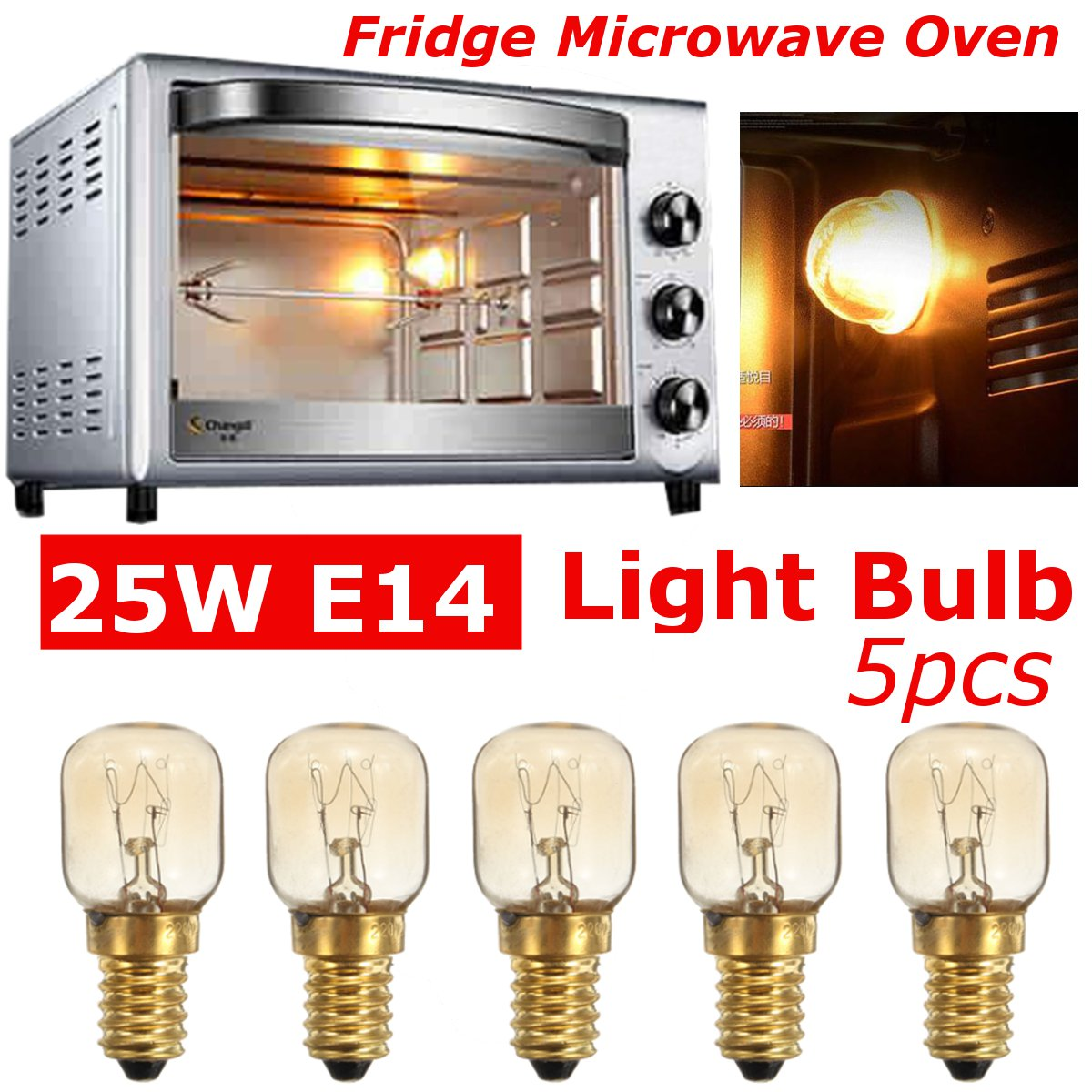 5Pcs Microwave Oven Light Lamp Bulb Base Design 250V 25W Replacement Universal E14 Screw In Light Bulbs High Temperature Lamps