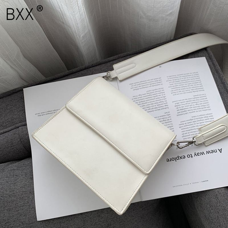 BXX 2019 New Fashion Woman Solid Color Black White Color Wide Single Strap Flap PU