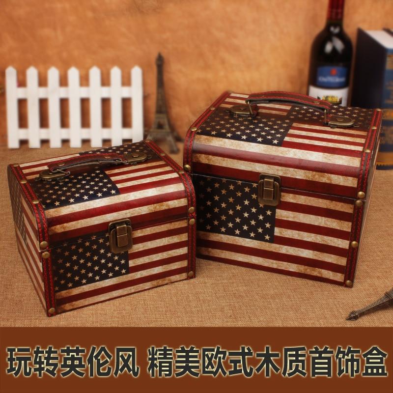 Boîte de rangement Vintage Explosion modèle Europe étoiles et rayures en bois petit Portable cosmétique européen 2 ensembles